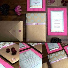 Lotus Design on bound card and baby pink raw silk on a backdrop  with a satin ribbon