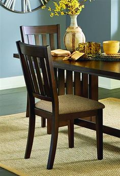 2 Kennedy Transitional Bruno Brown Rubberwood Dining Chairs