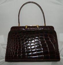 VTG BONWIT TELLER French Made Brown Alligator Leather Handbag Purse