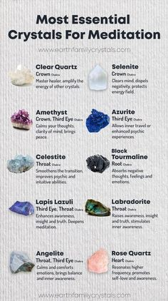 Most #Essential #Healing #Crystals for #Meditation. #ClearQuartz #Selenite #Amethyst #Azurite #Celestite # BlackTourmaline #LapisLazuli #Labradorite #Angelite #roseQuartz Chakra Crystals, Crystals And Gemstones, Stones And Crystals, Chakra Stones, Wicca Crystals, Gem Stones, Crystal Healing Chart, Crystals For Healing, Healing Crystal Jewelry