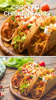 Crock Pot Chicken Tacos are a quick and easy slow cooker with only three ingredients. Grab your favorite taco toppings or make this Mexican chicken meat for burritos, taquitos, enchiladas, salads and more! It makes a great freezer meal, meal prep and easy Mexican Chicken Tacos, Chicken Taco Recipes, Mexican Food Recipes, Easy Chicken Tacos, Fried Chicken Taco, Mexican Wraps, Pulled Chicken Tacos, Buffalo Chicken Tacos, Slow Cooker Mexican Chicken