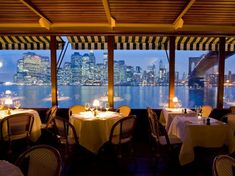 Views of the Manhattan skyline and Statue of Liberty provide a stunning backdrop at the River Café, a Brooklyn institution for nearly 40 years, which sits at the base of the Brooklyn Bridge. Guests dine on chef Brad Steelman's acclaimed New American cuisine, while a pianist provides a romantic soundtrack to the meal. It's little wonder that marriage proposals are a frequent occurrence.