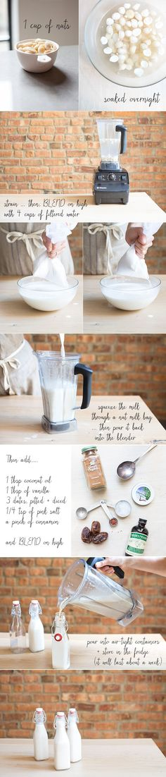 step by step guide with pictures~how to make the most delicious nut milk via: what's cooking good looking Milk Recipes, Raw Food Recipes, Cooking Recipes, What's Cooking, Granola Barre, Enjoy Your Meal, Clean Eating, Healthy Eating, Plant Based Milk
