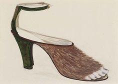 Meret Oppenheim, Projekt für Sandalen - Skizze für Sandale mit Pelz on ArtStack #meret-oppenheim #art