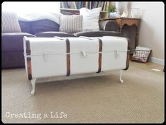 An under-used antique steamer trunk becomes a charming and useful piece of storage furniture!