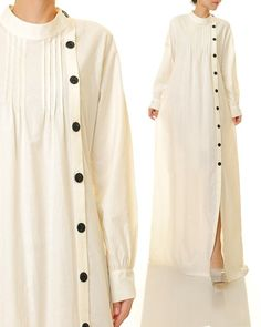 Button Up Maxi Dress, Cotton Shirt Dress, Maxi Dress With Sleeves, White Maxi Dresses, Modest Dresses, White Dress, Frock Fashion, Fashion Dresses, White Abaya