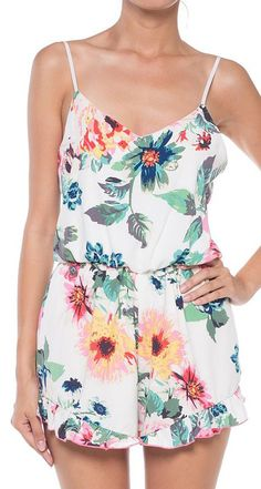 Coveted Clothing Ivory & Green Floral Romper