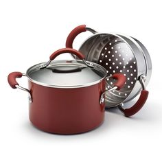 KitchenAid 3-quart aluminum saucepot with stainless steel steamer insert set in red color is great for cooking soups, chili, stew and steaming vegetables.