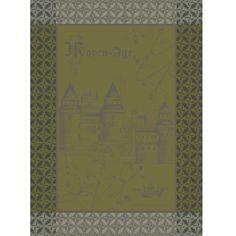 Tea Towel:  Torchon collection automne hiver 2015 par Garnier-Thiebaut - Modèle : Château Moyen Âge - Torchon en coton - Coloris : beige et vert