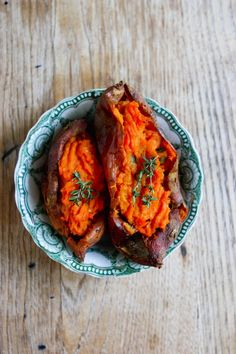 Twice Baked Sweet Potatoes with Roasted Garlic Puree. #food #potatoes #sides