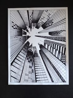 Perspective art, middle school art, high school art, drawing lessons, art l One Point Perspective, Perspective Drawing, Art Sketches, Art Drawings, Stylo Art, 7th Grade Art, Middle School Art, High School, Illusion Art