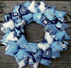 Tarheels University of North Carolina Blue Fabric Wreath Decor   SooBoo - Housewares on ArtFire