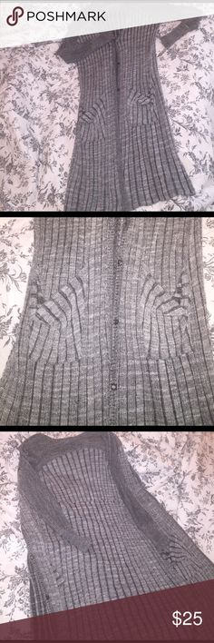 """Free People Long Cardigan Approx. 43"""" in length from back of neck to bottom. Too small on me! Would be a great outfit as an open cardigan or closed dress with a belt and boots! Not to mention...I am in love with the materiel //  74% cotton 28% rayon // never worn                 🛍Bundle & save 20% on 3+ items!🛒  🙅🏻No trades or Selling off of Posh🙅🏻         💎Offers always welcome💎 Free People Sweaters Cardigans"""