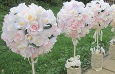 wedding ball Crepe Paper Pastel Roses paper by moniaflowers
