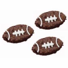 Bake brownies.        While still warm, cut out football shapes with cutter from set.        Remove from pan and cool.        Pipe tip 3 lines and stitching.