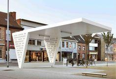 URA - bus stop - Mechelen Main Entrance Door Design, Entrance Gates, Pergola Carport, Pergola Plans, Street Furniture, Urban Furniture, Big Modern Houses, Bus Stop Design, Outdoor Learning Spaces