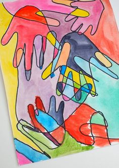 Our family hand print art- made using all the family members hands