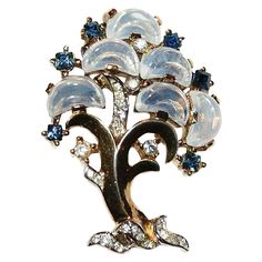 Trifari Clair De Lune Tree of Life Pin Brooch 1950's from luminousbijoux on Ruby Lane