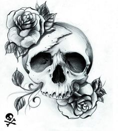 25 Best Skull And Roses Tattoo Sketch Images Tattoo Sketches