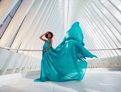Colorful moving fabric provides a stark contrast to the Oculus' bright, structured architecture in this creative portrait from Olympus Visionary Tracie Maglosky. Captured with an OM-D Mark II and the M. Senior Photography, Creative Photography, Maternity Photography, Photoshop Photography, Photography Photos, Best Wedding Photographers, Portrait Photographers, Epic Photos, Creative Portraits