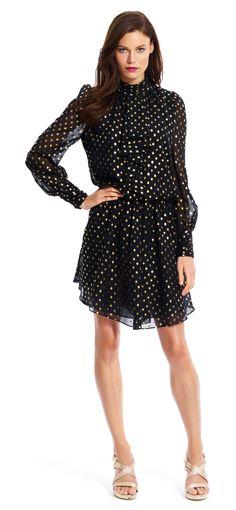 Gold Dotted Chiffon Dress - Adrianna Papell