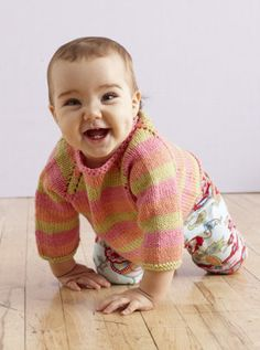 Free Knitting Pattern - Baby Sweaters: Sunrise Stripes Pullover