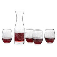 Peacock Stemless Wine Glasses and Carafe - Uncommon Goods :: $37 carafe and $49 for 4 wine glasses