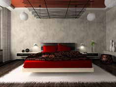 Unique Japanese Bedroom for Your Home. Japanese bedroom design style has unique characteristics. Japanese interior is about how to design the space that blends with nature. Red Bedroom Design, Bedroom Red, Modern Bedroom, Bedroom Decor, Interior Design, Bedroom Designs, Bedroom Ideas, Wall Decor, Wall Art