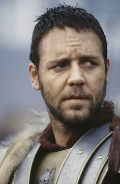 Russell Crowe playing Maximus Decimus Meridius from the movie, Gladiator.