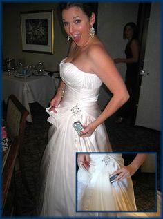 An insulin pump sewn into the wedding dress!