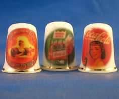 FINE CHINA THIMBLES - SET OF  THREE RARE COCA COLA RETRO ADVERTISING