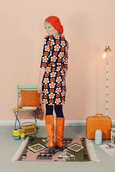 """Knielange Kleider - HERBSTKLEID """"SWEENY"""" ROT-BLAU - ein Designerstück von Bonnie-and-Buttermilk bei DaWanda"""
