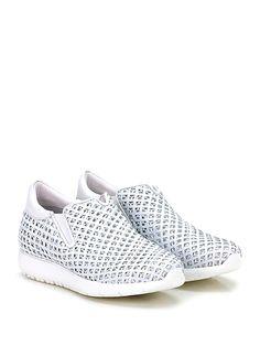 Andia Fora - Sneakers - Donna - Sneaker in pelle ad intarsi con rete under-leather e suola in gomma. Tacco 30, platform 15 con battuta 15. - BIANCO