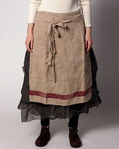 ewa i walla - linen apron over soft, feminine, black long skirt with flat shoes ~ Pretty Outfits, Cool Outfits, Mori Mode, Mori Fashion, Linen Apron, Magnolia Pearl, Sewing Aprons, Quirky Fashion, Apron Designs