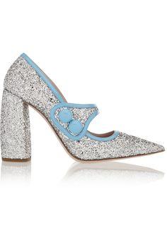 Miu Miu | Glittered Patent-Leather Pumps | WedLuxe Magazine #weddingshoes…