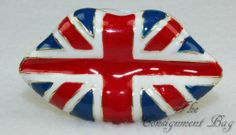 NEW Union Jack Lips Stretchable Band Ring www.TheConsignmentBag.com New items arrive daily and all ship Worldwide!