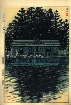 Water in the Shade of the Tree, Inokashira Pond, by Kasamatsu Shiro, 1956 -- See also at: http://www.hanga.com/viewimage.cfm?ID=2792