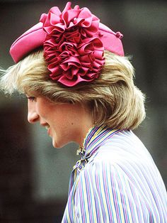 | During a 1983 tour of Australia, Diana was rosy in her John Boyd pink hat.