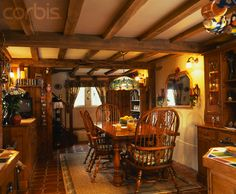 english cottage decorating | English Country Cottage Style Dining Room - 42-15742754 - Rights ...