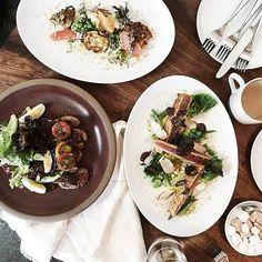 #FarmshopLA Farm to feast featuring Crispy Artichokes, Spice Crusted Big Eye Tuna and Prime Beef Calotte Steak Salad for lunch at #Farmshop. #BrentwoodCountryMart / Photo credit: Yerin Choi