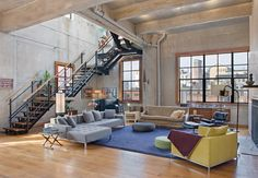 DUPLEX LOFT in NYC by Michael Haverland Architect---this is why i hate pinterest. when you're designing your home you have to pick one design. why cant i just have them all??