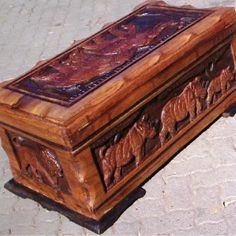 A African chest, Kist, African Wood, handcrafted, Mukango Wa Africa Furniture, Furniture, Animals, Art, Life, Rhino, Majestic