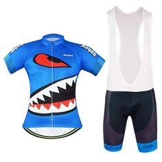 Men's Blue Shark Short Sleeve Cycling Jersey Set #Cycling #CyclingGear #CyclingJersey #CyclingJerseySet
