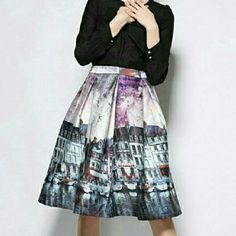 """Vintage Style High Waist Venice Scene Skirt Stunning Vintage style midi skirt with amazing Faux painted scene of Venice on the water all the way around skirt. Shades of pinks and blues. Polyester and spandex blend. Satin finish. Some stretch. Pleated, gold back zipper closure. Tag inside skirt says XXL, but actual size is XL.  Measurements : Waist 33.5"""" Length 22"""". This skirt will be the talk of the party! ! !  NWOT. Boutique  Skirts Midi"""