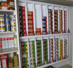 Rotating canned food system - diy Even if you're in a small house/condo you could put one of these in the back of your closet to utilize the space efficiently