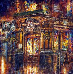Brown Wall Art Cityscape Painting On Canvas By Leonid Afremov