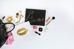 Product styling. Desktop styled stock photo. Makeup, beauty, blogger