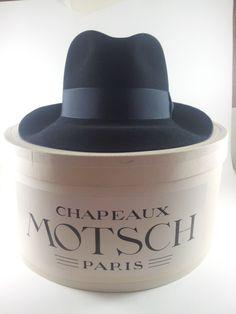 9f46639328f Motsch Fils Paris Fedora Black Felt with Hat Box Sz 56 Vintage by  acornabbey on Etsy