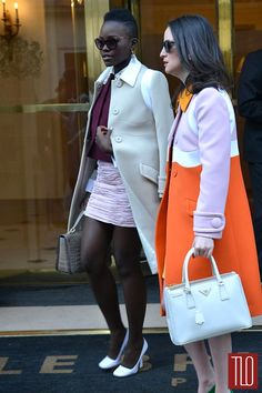Lupita Nyong'o is seen leaving The Bristol Hotel on her way to the Miu Miu fashion show in Paris, France. (March 2014)