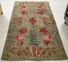 Pot Of Flowers Pattern Hooked Rug, (damage And Lo